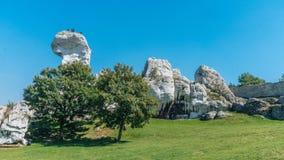 Ogrodzieniec老城堡废墟  免版税库存图片