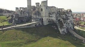 Ogrodzieniec Castle εναέριο 4k απόθεμα βίντεο