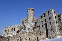 Ogrodzieniec castle ruins in winter Stock Photography