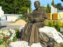 OGRODZIENIEC-monument of John Paul II,Poland stock image