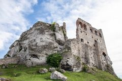Ogrodzieniec, Podzamcze / Poland - May 5, 2018: Old castle wall stock photo