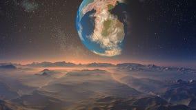 Ogromna błękitna planeta przeciw fantastycznemu krajobrazowi ilustracji