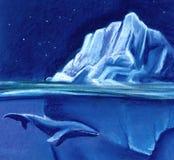 Ogromna biała góra lodowa na tle gwiaździsty nocne niebo błękitny wieloryb Malujący z pastelem na papierowej ilustracji ilustracji