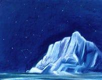 Ogromna biała góra lodowa na tle nocne niebo Malujący z pastelem na papierowej ilustracji fotografia stock