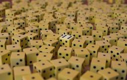 Ogromna liczba żółci kostka do gry Zdjęcia Royalty Free