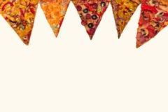 Ogromna międzynarodowa pizza na mąki tle Zdjęcie Royalty Free