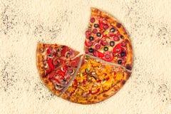 Ogromna międzynarodowa pizza na mąki tle Obrazy Royalty Free