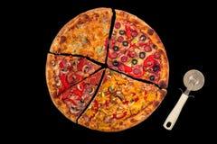 Ogromna międzynarodowa pizza na czerwonym tle Obrazy Royalty Free