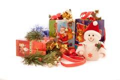 Ogromna rozmaitość Bożenarodzeniowi prezenty i dekoracje Obrazy Stock