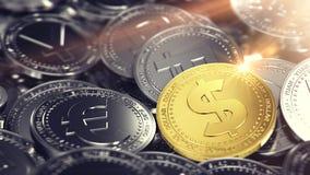 Ogromna sterta różne monety z złotą dolar monetą na przodzie świadczenia 3 d royalty ilustracja