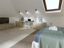 Ogromna sypialnia na loft w nowożytnym stylu Obrazy Royalty Free