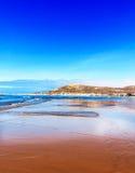 Ogromna szeroka piasek plaża Agadir, Maroko zdjęcie stock