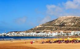 Ogromna szeroka piasek plaża Agadir, Maroko Zdjęcie Royalty Free