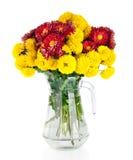 Ogromna wiązka żółta i czerwona jesieni chryzantema kwitnie zdjęcia royalty free