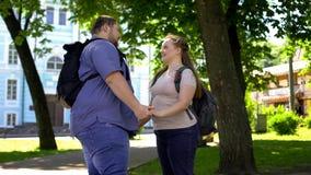 Ogromne pary mienia ręki, przygotowywają całować, romantyczna data w parku, afekcja zdjęcie stock