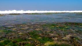 Ogromne pieniące ocean fale pod niebieskiego nieba zwolnionym tempem zbiory