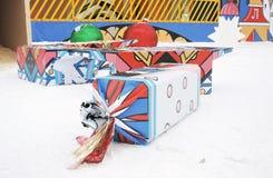 Ogromni cukierki Nowy Rok dekoracja w Gorky parku w Moskwa Zdjęcie Stock
