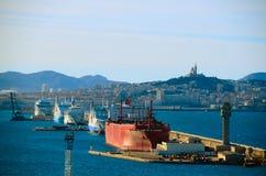 Ogromni statki w porcie Marseille Zdjęcia Royalty Free