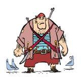 Ogromny śmieszny pirat i seagulls royalty ilustracja