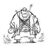 Ogromny śmieszny pirat i seagulls ilustracja wektor