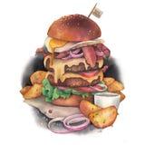 Ogromny akwarela hamburger z Idaho grulami jako garnirunek ilustracja wektor