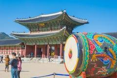 Ogromny ceremonialny bęben przy Gyeongbokgung pałac Fotografia Stock