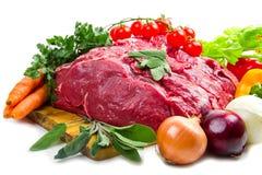Ogromny czerwonego mięsa kawał z warzywami Obraz Stock