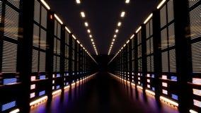 Ogromny dane centrum z serwerami w ciemnym pokoju zbiory wideo