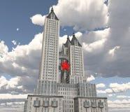 Ogromny drapacz chmur z czerwoną gwiazdą ilustracja wektor