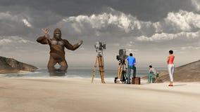 Ogromny goryl, kobieta w jego ręce i ekipa filmowa, ilustracja wektor