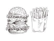 Ogromny hamburger i Smażący Kartoflany Graficznej sztuki sztandar royalty ilustracja