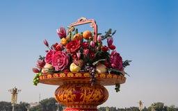 Ogromny kwiatu kosz w plac tiananmen, Pekin Zdjęcia Stock