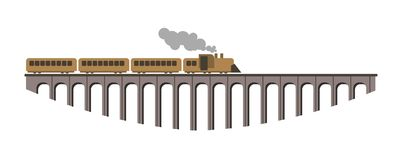 Ogromny most z długim starym rocznik kontrpary pociągiem ilustracja wektor