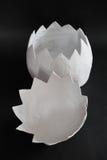 Ogromny papier - mache jajko na czarnym tle odkrywa w dwa częściach Zdjęcie Stock