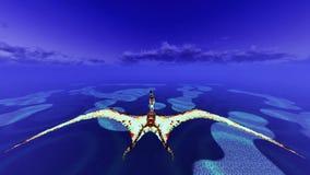 Ogromny pterodaktyl nad ziemią royalty ilustracja