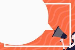 Ogromny Pusty mowa bąbla Round kształt Szczupła kobieta Trzyma Kolorowego megafon Kreatywnie tło pomysł dla zawiadomienia royalty ilustracja