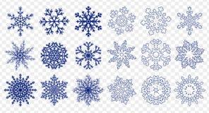 Ogromny set błękitni płatki śniegu ilustracja wektor