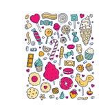 Ogromny set kreskówki doodle formy cukierki i cukierki royalty ilustracja