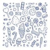 Ogromny set kreskówki doodle formy cukierki i cukierki ilustracja wektor