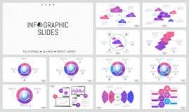 Ogromny set minimalni infographic projektów układy Round diagramy z wyrzynarki łamigłówki kawałkami umieszczającymi wokoło kuli z ilustracja wektor