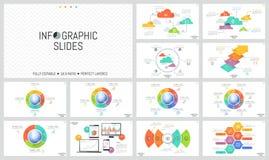 Ogromny set minimalni infographic projektów układy Round diagramy z wyrzynarki łamigłówki kawałkami umieszczającymi wokoło kuli z royalty ilustracja