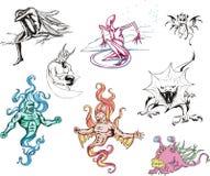 Ogromny set potwory ilustracja wektor