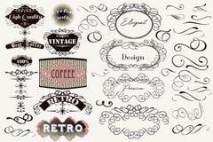 Ogromny set wektorowe rocznik etykietki fo i kaligraficzni zawijasy ilustracja wektor