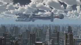 Ogromny statek kosmiczny nad dużym miastem ilustracji