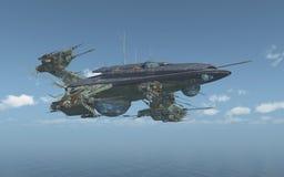 Ogromny statek kosmiczny nad morzem ilustracja wektor