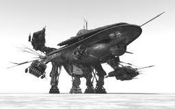 Ogromny statek kosmiczny w krajobrazie ilustracji