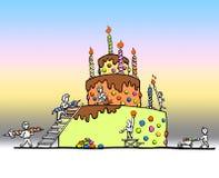 Ogromny urodzinowy tort ilustracji