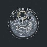Ogromny wieloryb z słońce oceanem Natury eksploracji etykietka lub plakat Nowożytna płaska liniowa wektorowa ilustracja ilustracja wektor