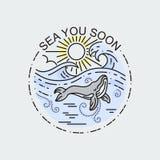 Ogromny wieloryb z słońce oceanem Natury eksploracji etykietka lub plakat Nowożytna płaska liniowa wektorowa ilustracja royalty ilustracja