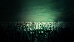 Ogromny wojsko Średniowieczni wojownicy Pod Błyskawicowym burza wmarszem Zwalczać royalty ilustracja